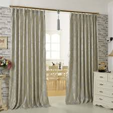 Gray Floral Jacquard Artificial Fiber Modern Curtains for Living Room