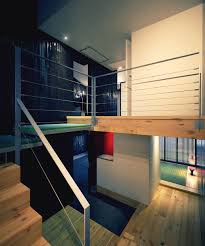 Extraordinary Mezzanine Design Ideas : Extraordinary Mezzanine Design With  White Black Wooden Wall And Stairs And Cabinet And Hardwood Floor.