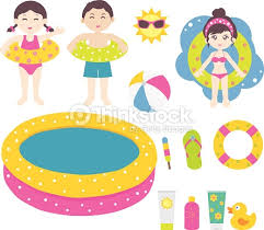 Kids And Children Ready For The Swimming Pool Vector Art Thinkstock
