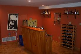decoration: Cool Orange Accents Wall Paint Of Home Basement Bar Designs Idea  Feat Simple Bar