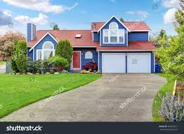 Light Blue Houses With White Trim Large Blue House White Trim Well Stock Photo Edit Now