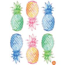 multi color pop pineapple wall decal