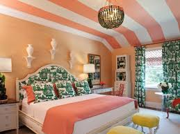 Coral and Green Patterned Bedroom