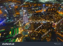 City Lights Video And Photography Dubai Downtown Night Scene City Lights Royalty Free Stock