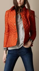 Burberry brit Cropped Quilted Jacket in Orange | Lyst & Gallery. Women's Quilted Jackets Adamdwight.com