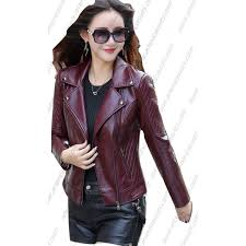 faux leather jacket lady long design motorcycle style