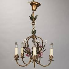 french five light brass chandelier with porcelain flowers