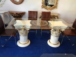 Medusa Mäander Designer Tisch Esstisch Crem Gold Deko König Ihr