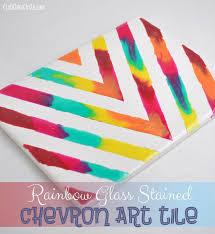fun crafts for tweens pinterest. rainbow chevron art tile home decor craft fun crafts for tweens pinterest