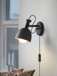 kiven nordic minimalist creative personality staircase corridor balcony living room bedroom bedside wall lamp macarons modern wall lamp with plug 1 8m black