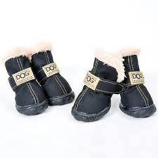 warm waterproof pu leather 4pcs set dog boots in black xl ledeals com
