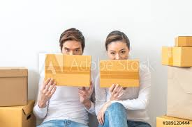 Start Boxes Asian Woman And Asian Man Carry Boxes Start Up Small Business