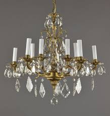 spanish brass crystal chandelier c1950 vintage antique gold french style