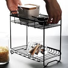 household items storage basket 2 tier flat back metal countertop fruit vegetable