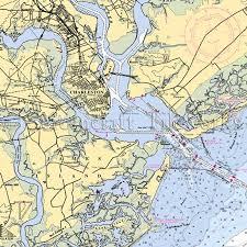 Charleston Nautical Chart South Carolina Charleston Harbor Nautical Chart Decor