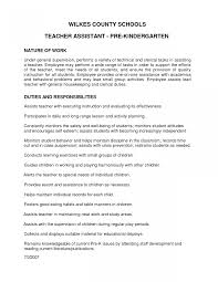 Teaching Resume Examples Kindergarten Teacher Job Description Template Appealing Teaching 77