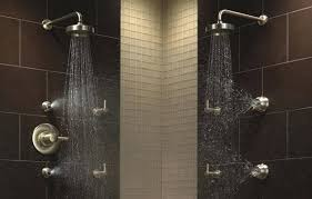 shower dual heads and wall fixtures two headed head best double dwell in design another three double headed shower dual head