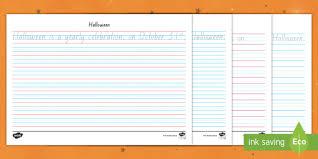 Year 3 Halloween Handwriting Practice Worksheet Worksheet