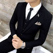 High Quality Men <b>Black</b> Gold Tuxedo Men Suit <b>Black 3 Pieces</b> Mens ...