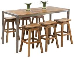 Teak Bar Set Westrock Table Patio Bars Outdoor Bar Sets