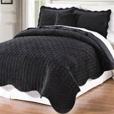 Black Bedspread Queen & BNF Home Diamond Square Flannel Quilted Coverlet Bedspread Sets Adamdwight.com