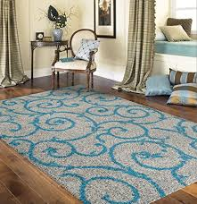 soft cozy contemporary scroll turquoise gray 7 10 x 10 indoor area rug