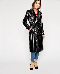 the kooples black vinyl trench coat