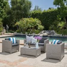 Christopher Knight Home Puerta Grey Outdoor Wicker Sofa Set patio furniture online 1