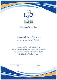 Promise Certificate Formal Girl Guides Victoria
