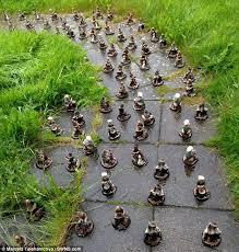 prank marcela telehanicova found 107 gnomes outside her front doorstep last week