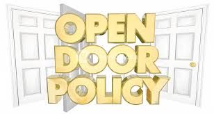 Open Door Policy Welcome Invitation Words 3d Illustration Royalty