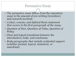 persuasive essay the persuasive essay differs from the expository  persuasive essay the persuasive essay differs from the expository essay in the amount of pre