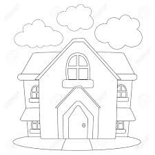 coloring book outlined house stock vector 55827770