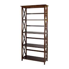 casual home montego walnut wood 4 shelf bookcase