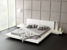 Japanese Style Platform Bed White Bed Frame Smooth Grey Cushion And ...