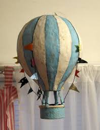 hot air balloon party made it paper mache with tissue paper so i didn t have to paint