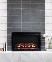 modern fireplace tile. Modern Fireplace With Glass Mosaic Tile