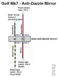 vwvortex com wiring diagram for automatic dimming rear mirror here s the wiring arrangement for the stock standard anti dazzle mirror in a golf mk7