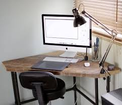 corner desk for office. diy industrial style pub height corner desk with drafting chair and architect lamp sweet for office