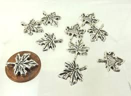 maple leaf charms 13mm silver color leaf pendant jewelry making canadian symbol fleamarket muse