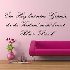 Wandtattoos Spruch Zitat Blaise Pascal Herz Verstand Blumen Wanda