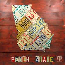 Georgia License Plates Designs Georgia License Plate Map By Design Turnpike Map Art Art