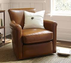 irving leather swivel armchair pottery barn regarding small