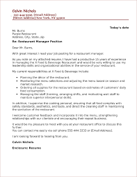 Hospitality And Restaurant Cover Letter Examples