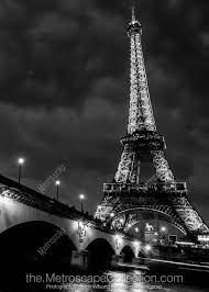 The Eiffel Tower at Night black and white Photography