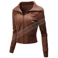 womens biker faux leather brown jacket
