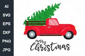 Free svg image & icon. A Red Car Carrying A Christmas Tree Graphic By Crstocker Creative Fabrica