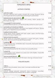 Italian Menu Simple Topolinos Italian Restaurant Hazyview Mpumalanga South Africa