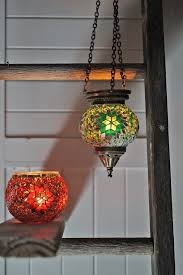 hanging mosaic candle holders colours