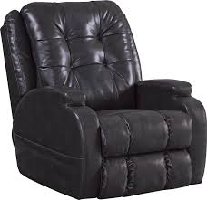jenson pow r lift lay flat recliner in coal leather by catnapper 4855 c